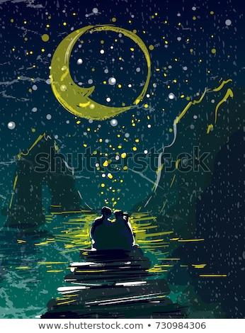 amantes · besar · luz · de · la · luna · ilustración · nina · hombre - foto stock © adrenalina