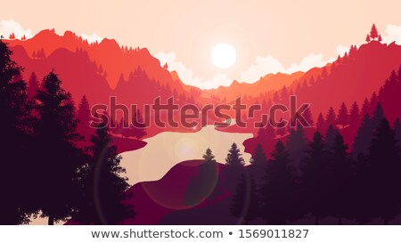 sunrise in the wilderness of a valley in the forest Stock photo © meinzahn