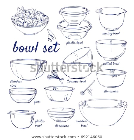Whisk and bowl sketch icon. Stock photo © RAStudio