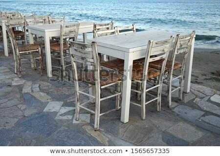 velho · cadeira · de · madeira · mar · Grécia · céu · água - foto stock © ankarb