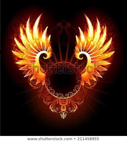 hot round banner with fiery wings Stock photo © blackmoon979