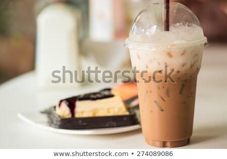 Cheese cake and iced caffeine drink Stock photo © nalinratphi