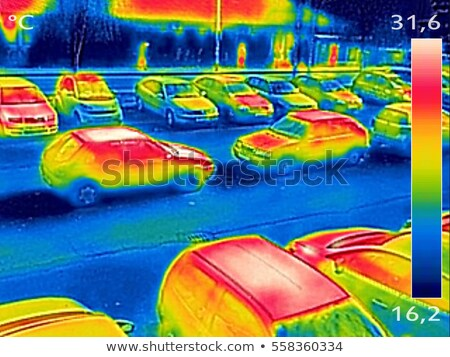 Thermal image showing parked cars at town parking lot Stock photo © smuki