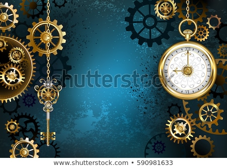 turquoise background with gears stock photo © blackmoon979