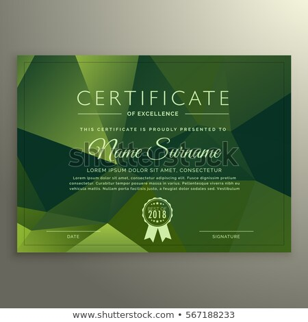 certificate of excellance design with abstract green poly shapes stock photo © sarts