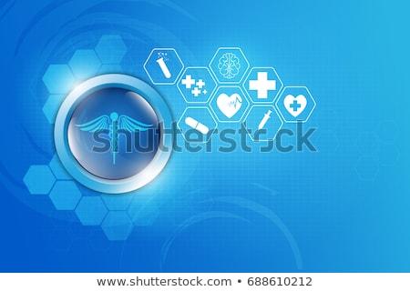 health icons on a bright blue geometric background stock photo © tefi