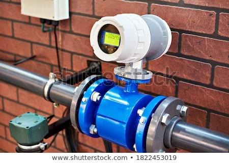 Water ventiel metaal Rood industriële plant Stockfoto © mmarcol