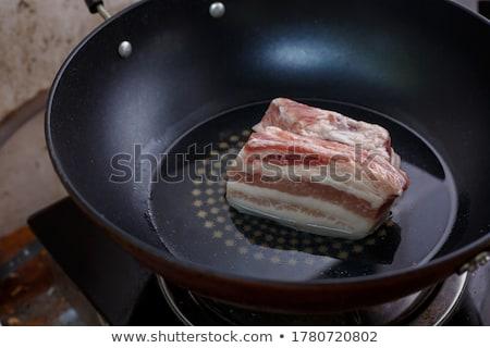 Stock fotó: Sült · darabok · disznóhús · kövér · tál · sós