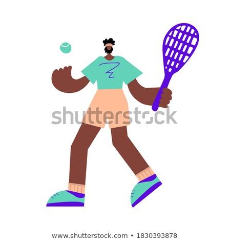 Firka karakter férfi teniszező illusztráció sport Stock fotó © bluering