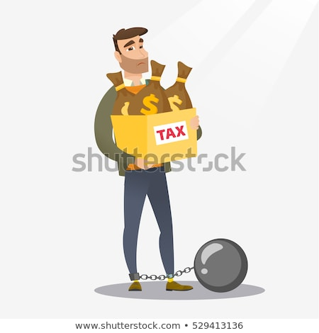 captive taxpayer holding bag with taxes stock photo © rastudio