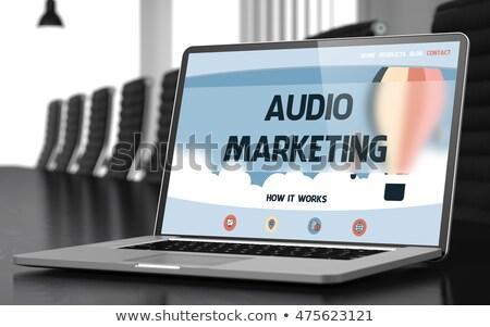 Audio marketing laptop tárgyalóterem 3D renderelt kép Stock fotó © tashatuvango