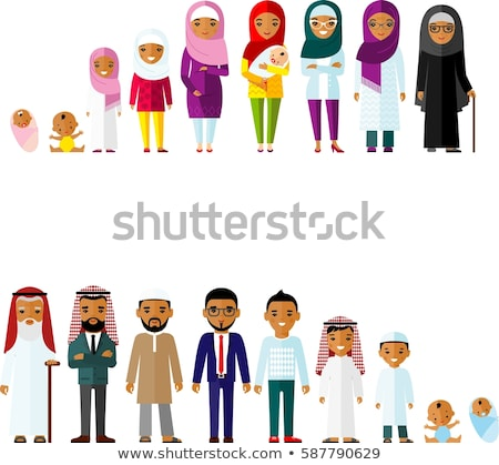 group of arab man family. Stages of development people - infancy Stock photo © NikoDzhi