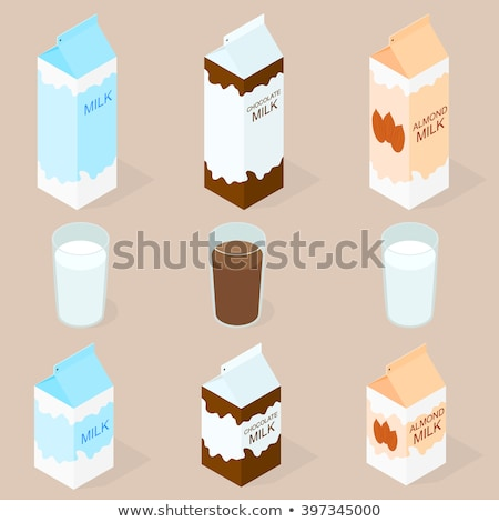 Foto d'archivio: Vector 3d Isometric Illustration Of Milk Packing And A Glass Of