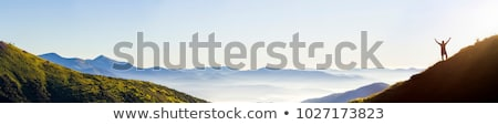 Stock photo: Foggy Mountain Top Panorama