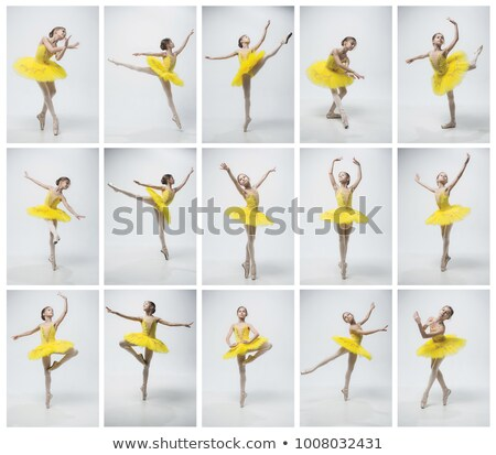 The young beautiful ballerina dancing on a gray background. Collage Stock photo © master1305
