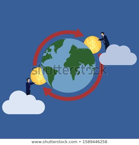 digital bitcoin symbol above world map vector background Stock photo © SArts