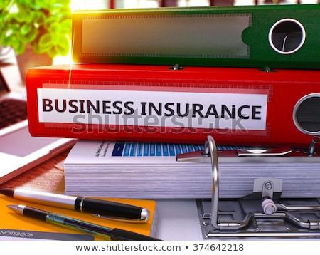 Red Office Folder with Inscription Business Insurance Stock photo © tashatuvango