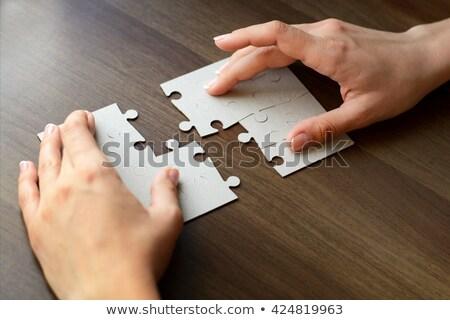 Különálló alkatrészek puzzle illusztráció fehér textúra Stock fotó © ratkom