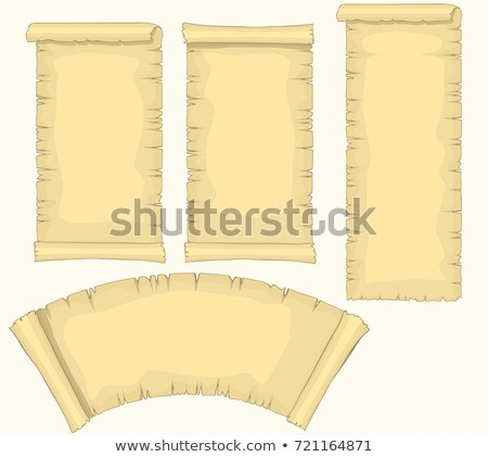 Papyrus scrolls Set, aged blank paper scroll, medieval yellowish manuscript, diploma or certificate  Stock photo © Andrei_