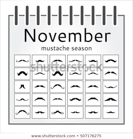 Kalender vintage gekruld snor kanker bewustzijn Stockfoto © RAStudio