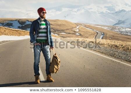 Férfi napos idő fiatalember utazás bőrönd ünnep Stock fotó © wavebreak_media