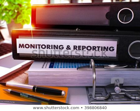 Fekete iroda mappa felirat ellenőrzés asztali Stock fotó © tashatuvango