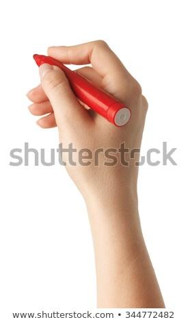 vrouwelijke · hand · schrijven · Rood · fiche · pen - stockfoto © valeriy