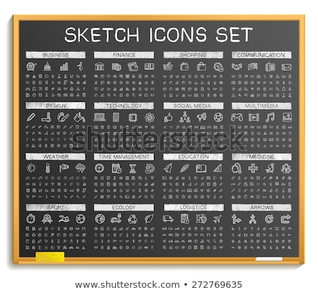 internet banking on chalkboard with doodle icons stock photo © tashatuvango