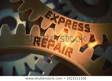 Express Repair Concept. Golden Metallic Cog Gears. Stock photo © tashatuvango