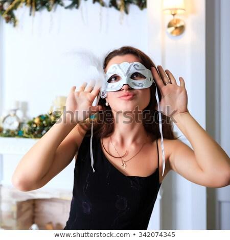gyönyörű · nő · velencei · velencei · maszk · fényűző · épületbelsők · divat - stock fotó © Pilgrimego