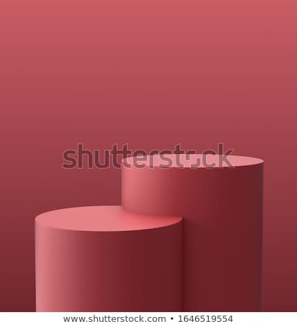 Stock fotó: Piros · henger · pódium · három · rang · renderelt · kép