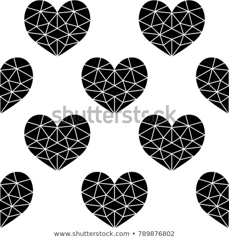 Geometric black cubic heart vector seamless pattern, Valentine's Day hearts on white background Stock photo © RedKoala