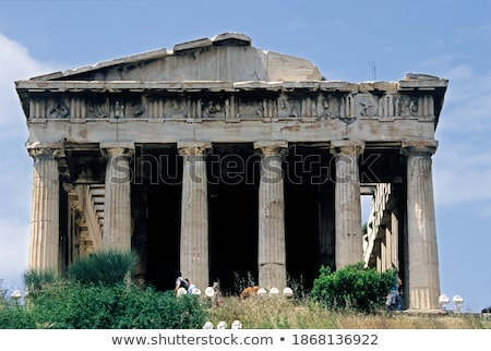 view of athens city with temple of hephaestus from acropolis hill athens greece stock photo © ankarb