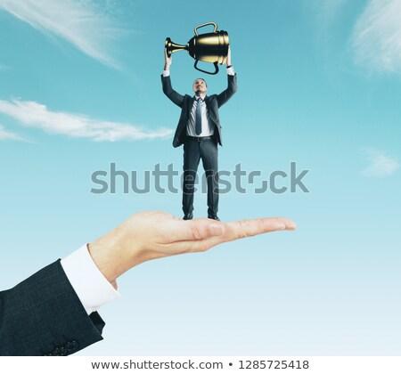 Europeo empresario mantener dorado adjudicación taza Foto stock © studioworkstock