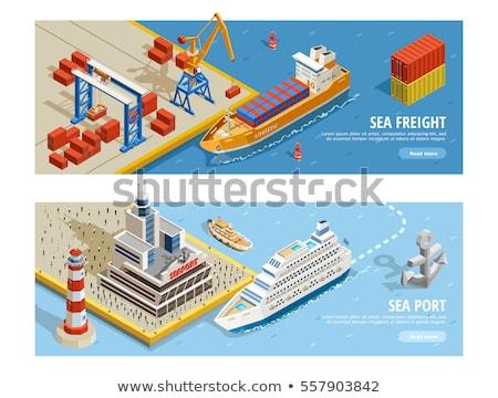 Sea shipping logistics business card template Stock photo © studioworkstock