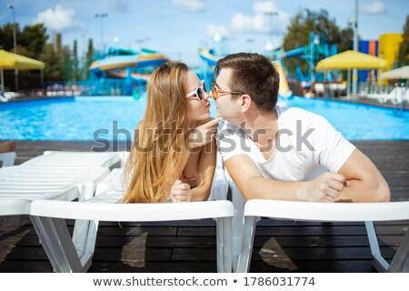 カップル キス 太陽 プール ビキニ スイミングプール ストックフォト © IS2