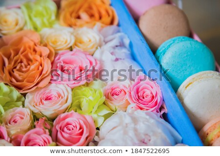 French macaroon dessert and flowers on a turquoise background Stock photo © Kotenko