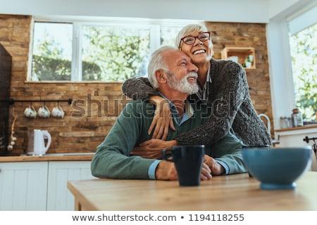 Feliz maduro casal casa mulher menina Foto stock © hannamonika