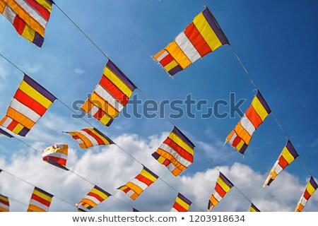 Budista bandeiras céu oração cômico aldeia Foto stock © dmitry_rukhlenko