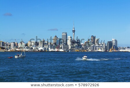 Auckland bridge view from the sea and sailing ship, New Zealand Stock photo © daboost