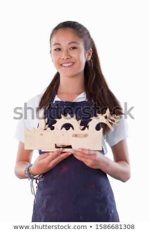 школьница изделия из дерева класс ребенка портрет обучения Сток-фото © monkey_business