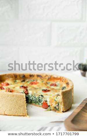 slice of delicious homemade quiche stock photo © melnyk
