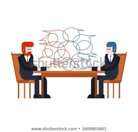 Działalności negocjacje dwa biznesmenów posiedzenia tabeli Zdjęcia stock © MaryValery