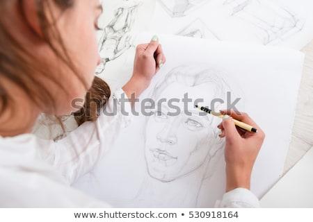 Artista lápiz dibujo Foto arte estudio Foto stock © dolgachov