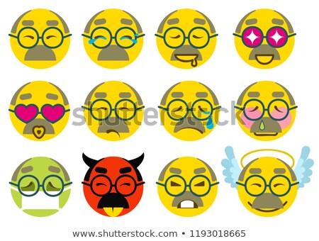 Set smile grandfather senior icon love, joy, sick, sad, anger Stock photo © orensila