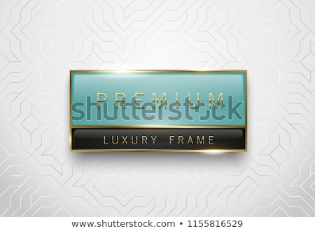 Premium light green and black glass label with golden frame on white geometric background. Luxury Stock photo © Iaroslava