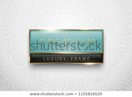 Premie lichtgroen zwarte glas label gouden Stockfoto © Iaroslava