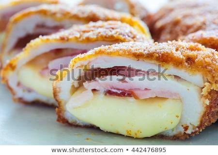 Mavi patates kızartması tavuk yeme öğle yemeği krem Stok fotoğraf © M-studio