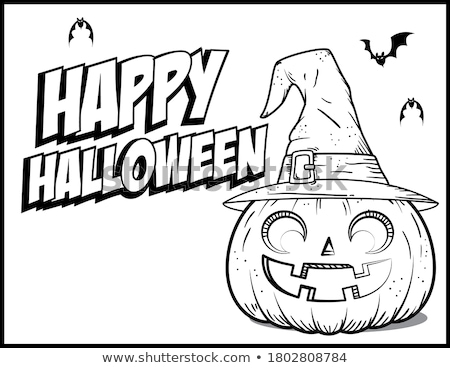 Stock photo: Halloween holiday cartoon characters coloring book