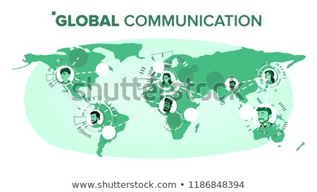 Global Communication Vector. Chat On World Map At Distance. Worldwide. Isolated Illustration Stock photo © pikepicture